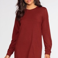 Destiny Sweatshirt Dress - Burgundy