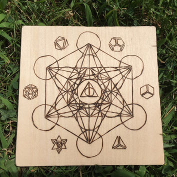 "Flower of Life Superimposed Metatron's Cube with Platonic Solids | Natural 7""x7"" Crystal Grid 