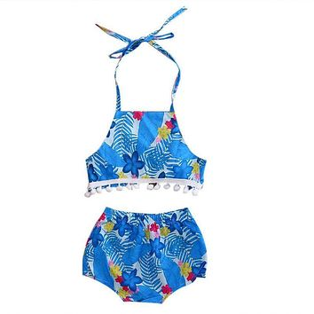 2PCs Baby Clothes  Summer Infant Baby Girls Floral Backless Tops Short Pants Fringes Outfits Clothes