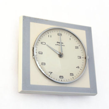 Vintage  Ceramic Clock , wall clock , Ceramic white / grey clock, Wall hanging clock, Mid century clock, Stylish Dugena Electric,