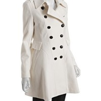 Via Spiga white wool blend double breasted flared coat