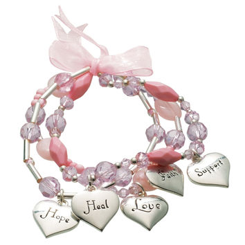 Breast Cancer Awareness - Pink Breast Cancer Ribbon Bead Bracelet