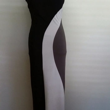 Mod maxi dress, S, black and gray maxi, mod dress, black maxi, geometric maxi, abstract maxi, mod maxi