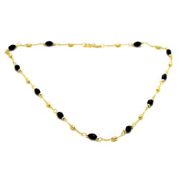 (1-1565-3-H9) Gold Filled Azabache (Faceted Onyx) Necklace, 16""