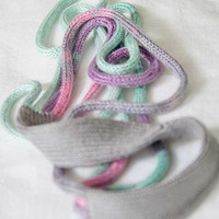 Knitted necklace fiber jewelry necklace mint green, pink, lilac, grey fiber necklace chunky necklace