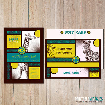 Safari party birthday invitation and thank you card African wild animals Zoo theme birthday package printable teal yellow brown boys girls