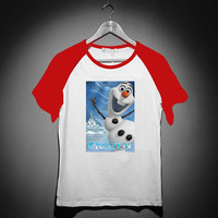 Disney Frozen Olaf Poster - Short Sleeve Raglan - White Red - White Blue - White Black XS, S, M, L, XL, AND 2XL *02*