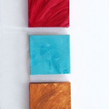 Home Decor - Wall Hanging - Sign - Art -3 Mini Canvases Red, Turquoise, Burnt Caramel