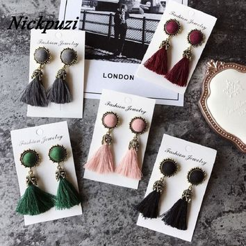 Nickpuzi Women Earrings Tassel Earring Female 2018 Black/Bohemian/Korean/Fringe/Tassel Earrings For Women Drop Earrings