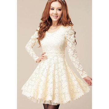 White Long Sleeves Lace Mini Dress