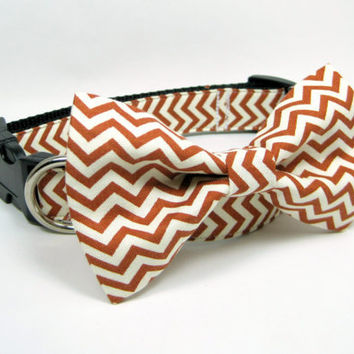Chevron Rust and Cream Dog Collars with bow tie set  (Mini,X-Small,Small,Medium ,Large or X-Large Size)- Adjustable