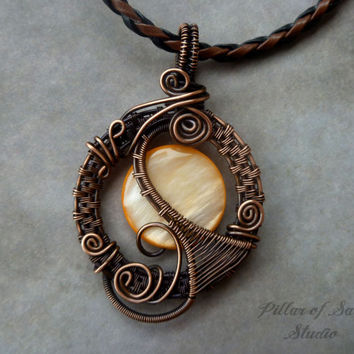 Wire Wrapped jewelry handmade, wire wrapped pendant necklace, copper jewelry, wire jewelry, orange mother of pearl, woven wire jewelry