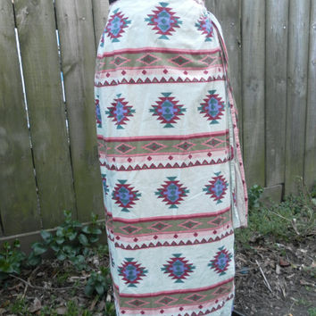 Vintage SouthWestern Blanket Wrap Skirt Tribal Ethnic Aztec Long  Boho Hippie Gypsy