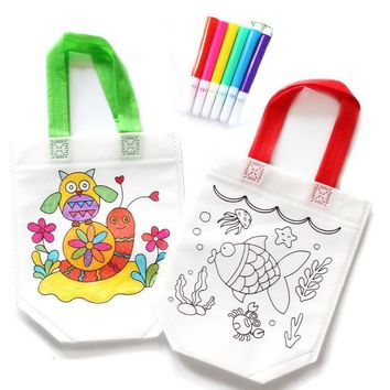 Random 1 pc Kids DIY Drawing Craft Color Bag Children Learning Educational Drawing Toys with Safe Watercolor pen for Baby Gifts