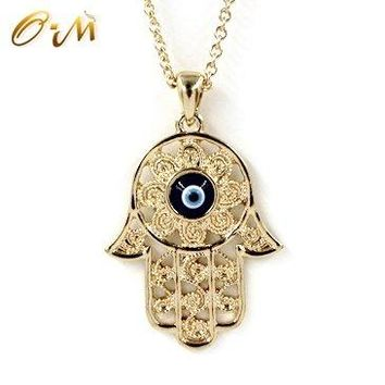 SHIP BY USPS: Onairmall Filigree Charm Hamsa Hand of Fatima Blue Lucky/Evil Eye Protection Amulet Pendant Necklace