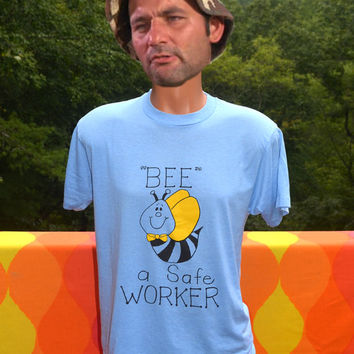 vintage 80s tee shirt BEE a safe worker safety bees light blue t-shirt Medium funny nature