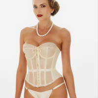 Vintage Sheer Merry Widow Basque | Strapless Sheer Bridal Basque