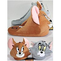 Licensed cool NEW TOM & JERRY ADULT Slippers PLUSH HOUSE SHOES WB HANNA BARBERA CAT MOUSE