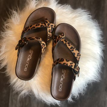 Leopard Strapped Sandals