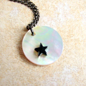 Moon and Star Necklace- Gunmetal - Black- Hematite- Gemstone- Mother of Pearl Shell- Iridescent -Emo -Goth- Halloween