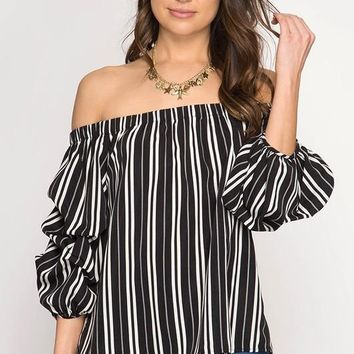 Off-Shoulder Striped Top (Black)