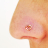 Tiny nose stud rings heart tragus handmade gold/sterling silver heart tragus sterling silver noseclip body jewels for women