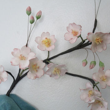 cherry blossoms cake topper wedding edible gumpaste sugar pink keepsake spring