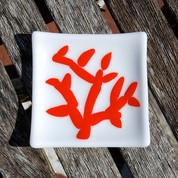 Red Coral Little Fused Glass Dish - Spoon Rest - Trinket Dish Beach Cottage Decor