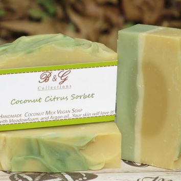 Coconut Citrus Sorbet scented soap - Handmade Cold process soap with Cucumber extract, Vegan Soap with coconut milk, Wedding favors, Gifts
