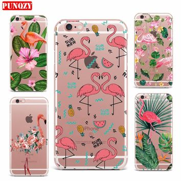 Case For iPhone 7 7 Plus Case Hard PC Smart Mobile Phone Shell Pattern Cute Flower Case Exotic Flower Flamingos Animal Series