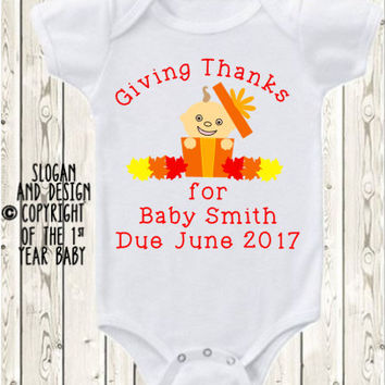 Custom Thanksgiving Pregnancy Announcement Idea, Thanksgiving custom Onesuit ® brand bodysuit or shirt / bun in the oven Thanksgiving baby