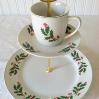 Upcycled 3 Tiered Vintage Christmas Plate and Tea Cup High Tea Dessert Stand/Christmas Tea Party/Appetizer Stand