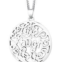 "Sterling Silver ""Live Laugh Love"" Circle Pendant Necklace , 18"""