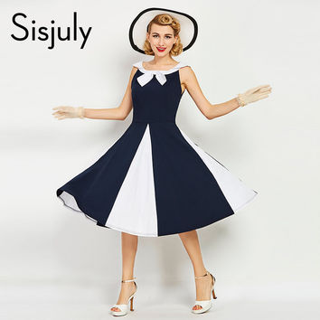 Sisjuly women vintage dress 1960s nautical style patchwork summer retro dress navy bowknot sailor collar female vintage dresses