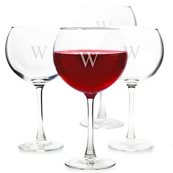 Personalized Red 19 oz. Wine Glasses (Set of 4)
