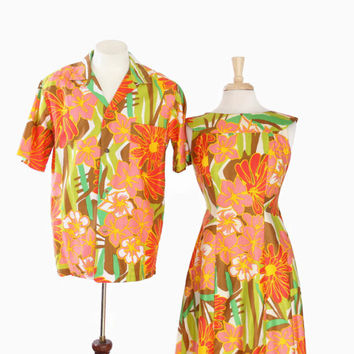 60s HAWAIIAN Shirt & DRESS Matching SET / 1960s His and Hers Tropical Tiki Wedding Outfits