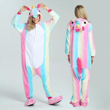Unisex Adult Pajamas Suits Cartoon Cosplay Costume Animal Onesuit Women Sleepwear Suit Rainbow Unicorn Tenma Stitch Totoro Panda