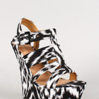 Women's Dollhouse Two Tone Strappy Open Toe Platform Wedge