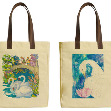 Hand Painted Swan Beige Printed Canvas Tote Bags Leather Handles WAS_30