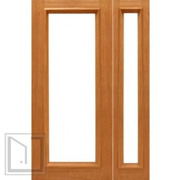 Prehung 1-lite-R/M French Brazilian Mahogany IG Glass Sidelight Door