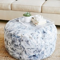 Free People Marbled Leather Pouf