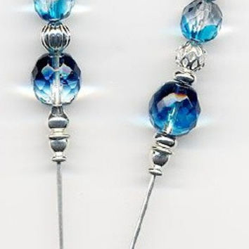 Deep Blue Sea Czech Aqua and Silver  6 inch Hatpins