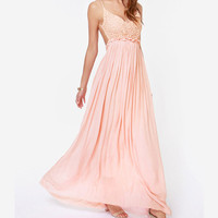 Pink Backless V- Neck Pleated Maxi Dress