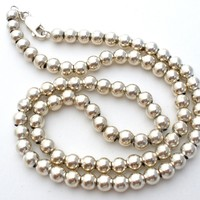 "Sterling Silver Bead Necklace 16"" Vintage"