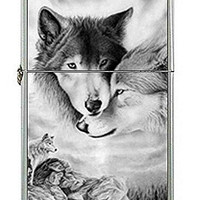 "Wolf Couple "" Black and White"" Flip Top Lighter and Metal Gift Box"