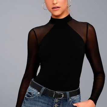Entrancing Black Mesh Long Sleeve Bodysuit