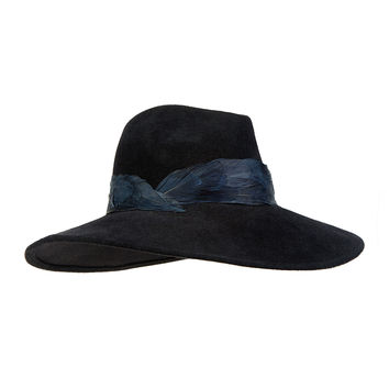 Emanuelle Fedora w/Feather Band, Size: MEDIUM, BLACK - Eugenia Kim