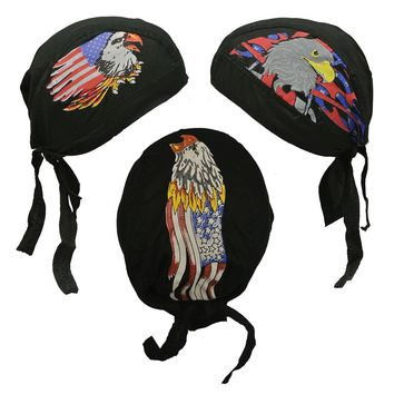 Skull Caps - Set of 3 American Flag Eagle Doo Rags Head Wraps Patriotic Hat
