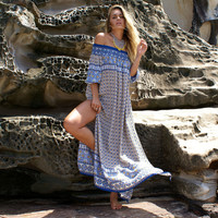 Boho Print Strapless Beach Maxi Dress 10213