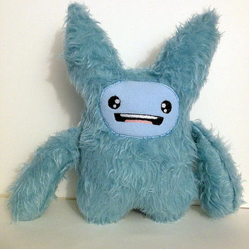 Cute Monster Plush,  Chibi Anime Inspired Creature - Super Kawaii Plushie Stuffed Toy Monster  - Baby Blue Fur -